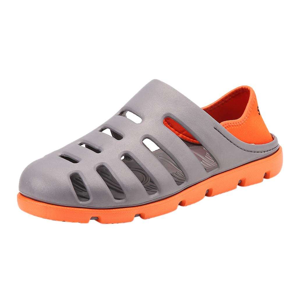 HULKAY Newest Upgrade Shower and Poolside Sport Sandal - Slide On, Protective Footwear for Men and Women(Gray,US:10/CN:45)