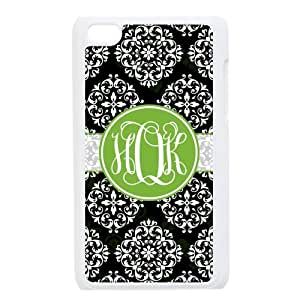White Lilac Pattern In The Black Background Palace Style Green Monogram Perspective Effect Design Custom Luxury Cover Case with Best Plastic For IPod touch4