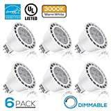 Dimmable MR16 GU5.3 LED Light Bulb, 7W (50W Equivalent), ENERGY STAR, 490lm, 3000K Warm White, 40° Beam Angle, Damp Location Available, 12V, 3 YEARS WARRANTY, Pack of 6