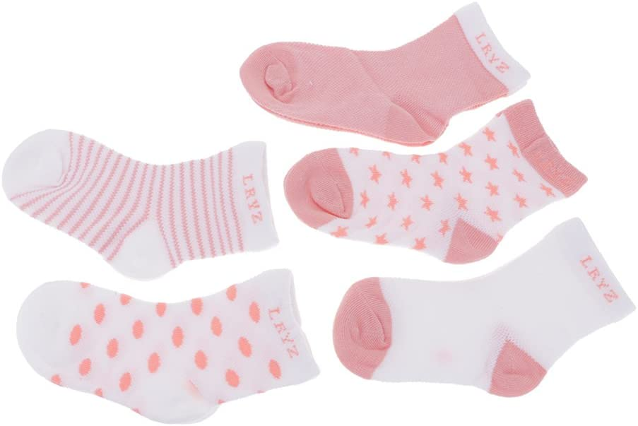 VANKER 100/% Cotton Kids Toddler Baby Girl Lovely Ankle Socks For 4-6 Years Old 5 Pairs