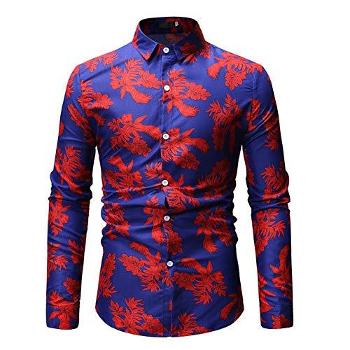 blu uomo Shirt e Maglietta assortiti corte lunghe Top da maniche stampate foglie colori Tee paOOZ1wq