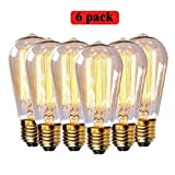 Edison Light Bulb 60 Watt Vintage Light Bulb, 220V E27 Base Warm White Clear Pendent Light Bulb Pack of 6 (ST64)