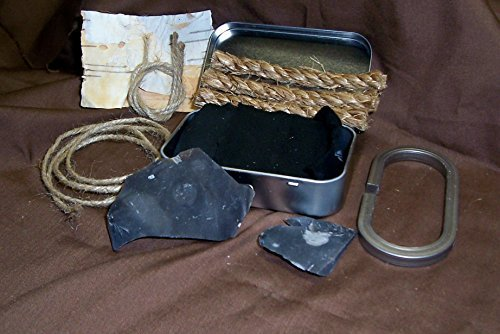 Complete Flint and Steel Fire Starter Set with Hinged Tinder Box and English Flint