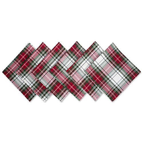(Christmas Plaid 100% Cotton Oversized Napkin for Holidays, Family Gatherings, & Christmas Dinner - Set of 6)