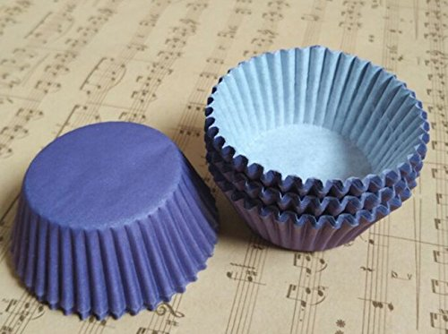100 PCS Small Solid Color Paper Tray Muffin Cake CUP CAKE High Temperature Resistant Paper Cup -Purple+Key Chain
