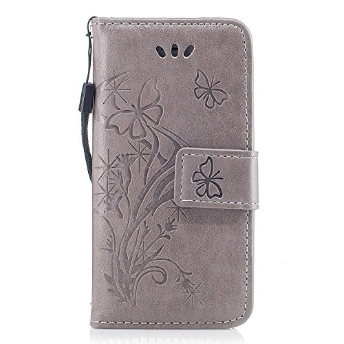Scheam for iPhone SE 5SE 5 5S Genuine Leather Wallet Case Cover, Flip Stand, Card Slot, Stylish, Grey