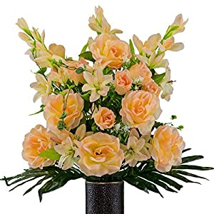 Peach Gladiolus and Rose Mix Artificial Bouquet, Featuring The Stay-in-The-Vase Design(c) Flower Holder (SM2179) 32