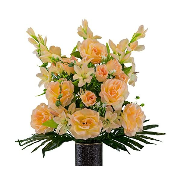 Peach-Gladiolus-and-Rose-Mix-Artificial-Bouquet-featuring-the-Stay-In-The-Vase-Designc-Flower-Holder-SM2179