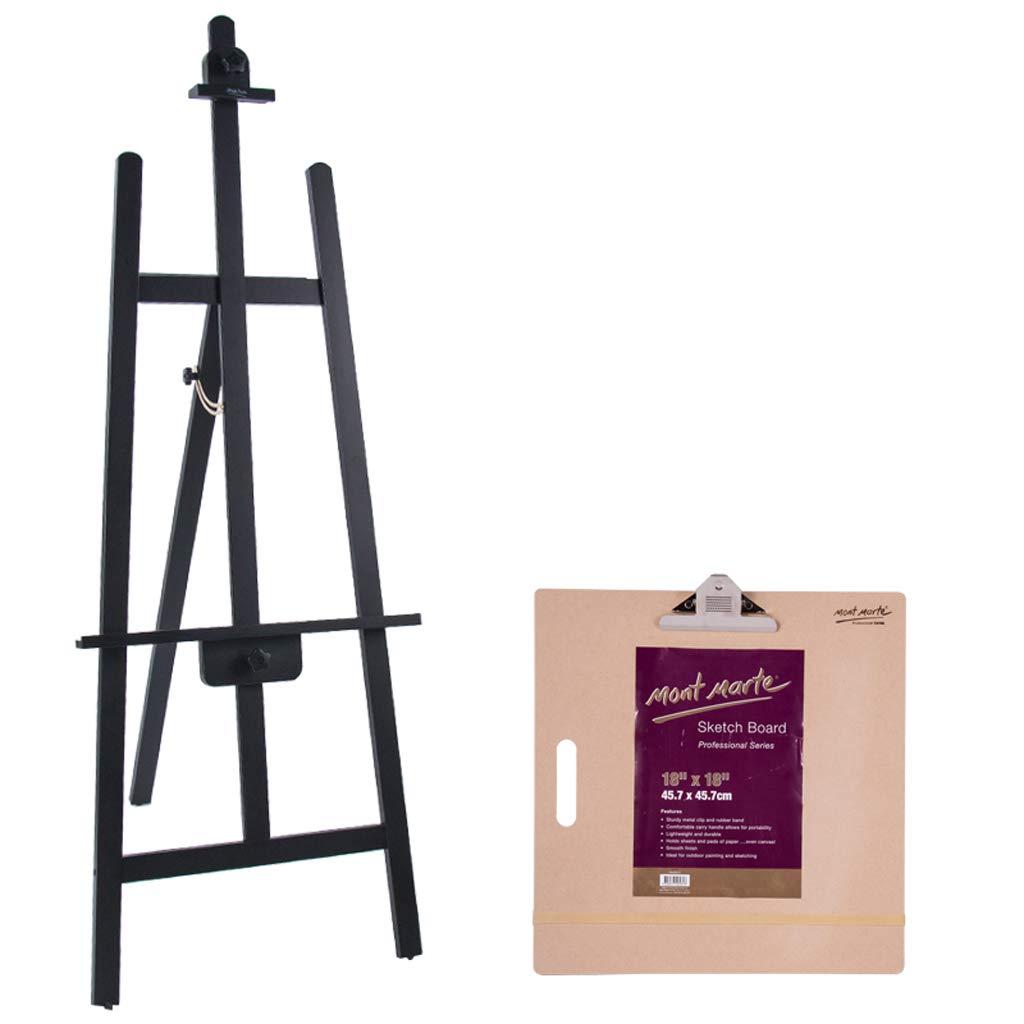 Cavalletto Staffa in Legno Cavalletto da Disegno Triangolo Supporto Posteriore Nero Cavalletto Olio in Legno Supporto per cartelloni pubblicitari (colore   B)