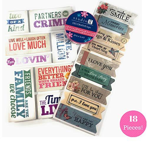 (Love, Friendship & Memories Scrapbook Kit | Adhesive Foam Stickers - Washi Tape - Vellum Scrapbook Stickers |