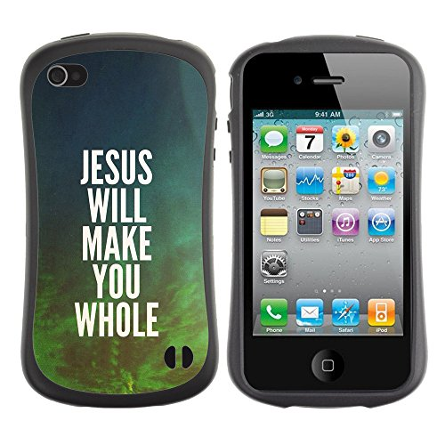 DREAMCASE Citation de Bible Silicone et Rigide Coque Protection Image Etui solide Housse T¨¦l¨¦phone Case Pour APPLE IPHONE 4 / 4S - JESUS WILL MAKE YOU WHOLE