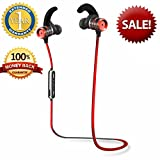 Fitness Earbuds Jogging Bluetooth Headphones Working Out Headset Best Wireless Sports Ear Hook Exercise Gym Stereo Sweatproof MIC Volume Control Athletic Bluetooth Headphones for Running Hiking Red