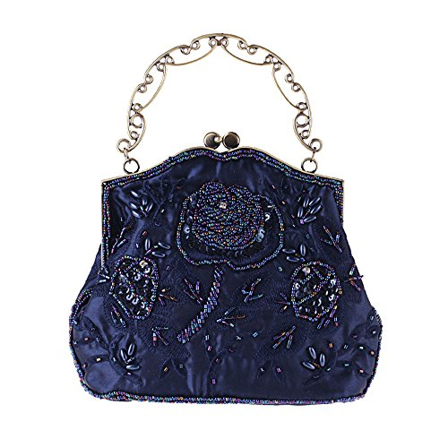 (UBORSE Women's Vintage Flower Beaded Sequin Evening Clutch Wedding Purse Party Bags Navy Blue)