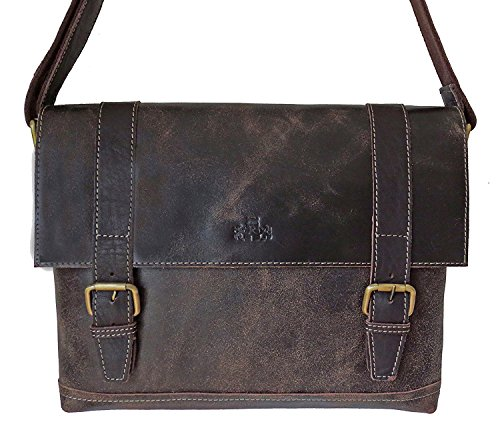 Rowallan  ROWALLAN Brown Leather, satchel, briefcase, Shoulder Bag, Borsa Messenger  Unisex adulti marrone Brown
