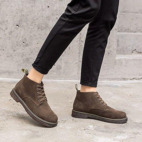 HL-PYL - Cashmere koreanische Version von Martin Stiefel Leder Schuhe kurze Stiefel Retro Stiefel 38 Khaki zu helfen