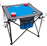 Creative Outdoor Distributors 820118-Blue/Grey Folding Wine Table with Cupholders & Wineglass Holders, Blue/Grey
