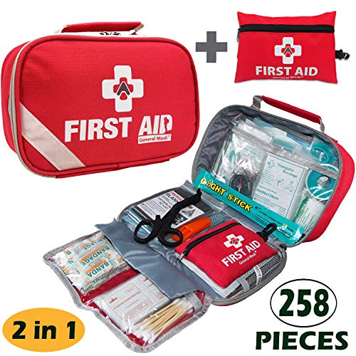 2-in-1 First Aid Kit (215Piece) + Bonus 43Piece Mini First Aid Kit