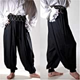 Pirate Renaissance Medieval Costume Harem Pants Trousers (Large, Black)