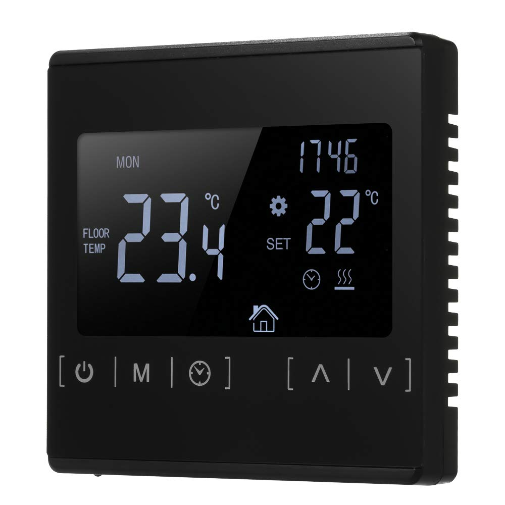 sazoley Floor Heating Thermostat, LCD Touch Screen Thermostat, Electric Floor Heating System, Water Heating Thermoregulator, AC85-240V Temperature Controller (Black/White)