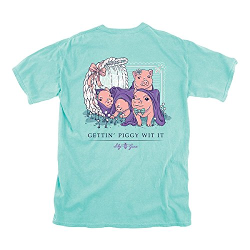 Lily Grace Getting Piggy WIT It Short Sleeve Women's T-Shirt Chalky Mint (Medium) (T-shirt Witte)
