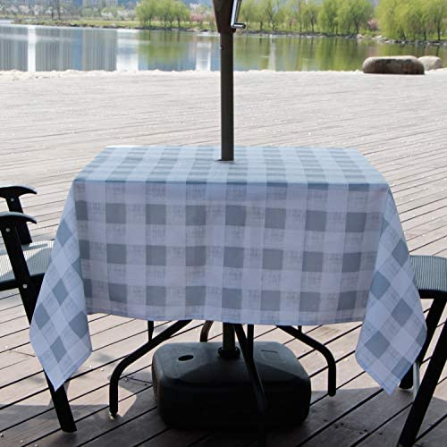 AooHome Buffalo Plaid Square Tablecloth, Fabric Water Resistant Spill-Proof Table Cover with Zipper and Umbrella Hole for Family Gathering and Picnic, Machine Washable, Heavy Duty, 60×60 Inch, Grey