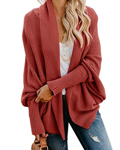Cocoon Sweater Coat - Imily Bela Womens Kimono Batwing Cable Knitted Slouchy Oversized Wrap Cardigan Sweater Red