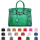 SanMario Designer Handbag Top Handle Padlock Women's Leather Bag Crocodile's Skeleton Patterns Embossed with Golden Hardware Green 35cm/14''