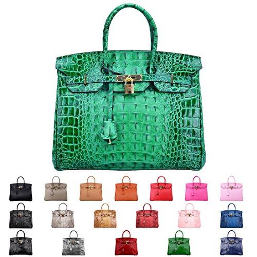 SanMario Designer Handbag Top Handle Padlock Women's Leather Bag Crocodile's Skeleton Patterns Embossed with Golden Hardware Green 35cm/14'' by SanMario