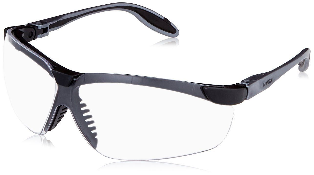 Uvex S3700D Genesis Slim Safety Eyewear, Pewter and Black Frame, Clear Dura-Streme Hardcoat/Anti-Fog Lens