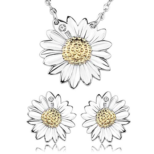 I'S ISAACSONG 925 Sterling Silver Sakura Flower Charm Cubic Zirconia Crystal Pendant Necklace and Earring Jewelry Set for Women and Girl (Platinum Classic Daisy Flower Set)