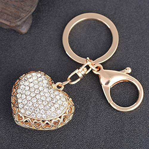 ne Hollow Heart-Shaped Shape Auto Car Key Ring Hooks Keychain for Women Purse Bag Charms Ornaments (Golden) ()