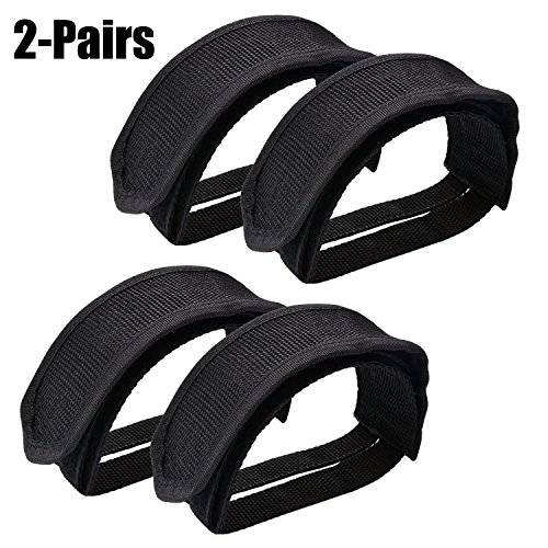 (Outgeek Pedal Straps, Adjustable Bike Foot Pedal Straps Nylon Bicycle Toe Clips Straps for Fixed Gear Exercise Bike Adult 2 Pairs)