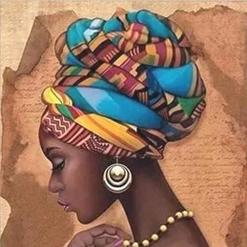 5Dダイヤモンド絵画大人子供DIYラインストーンの芸術品、工芸品の装飾のためのナンバーキットによって、アフリカの女性のフルドリル