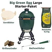 Big Green Egg Large Starter Set Keramikgrill Keramik grün XXL Ceramic Smoker Garten Grill-Set ✔ Lenkrollen mit Bremse ✔ Deckel ✔ oval ✔ rollbar ✔ stehend grillen ✔ Grillen mit Holzkohle ✔ mit Rädern