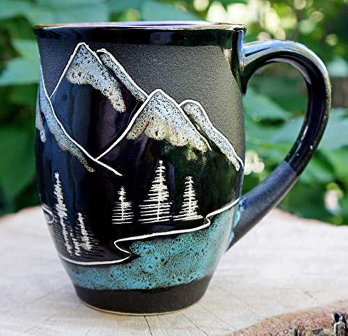 Mountain coffee mug, Handmade large tea cup,16oz, Gift for husband mug, Adventure awaits Mugs Art Pottery Coffee Mug