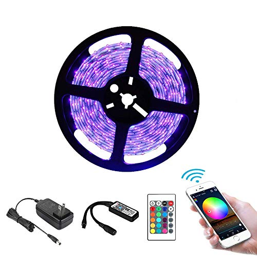 BeWit Led Light Strip, RGB LED Strip Light, 16.5ft Rope Light for Indoor Outdoor Decorate, LED Kit 5050 LED Lights with IR Remote Controller, Compatible with Smartphone, Echo IFTTT Google (Purple)