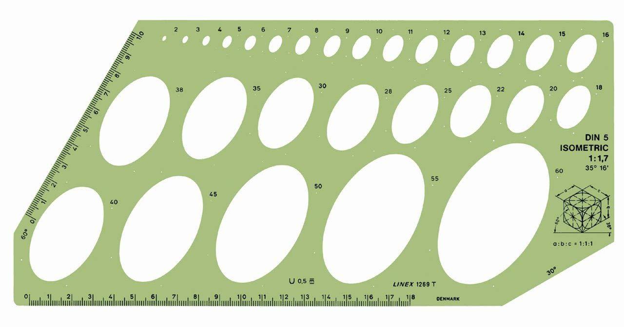 1269T Ellipsenschablone Mit Skalen für isometrisches Zeichnen