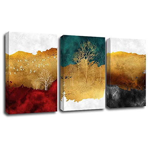 Yumeart Canvas Prints Artwork Wall Decor Abstract Gold Tree Scenery Red and Blue Mountain Watercolor Painting Posters Contemporary Home Decor(Unframed 24