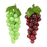 grape decorations set - 2-Piece Set of Fake Fruit Grape Clusters - Artificial Fruit Fake Grapes for Still Life Paintings, Storefront Decoration, Kitchen Decor, Red and Green