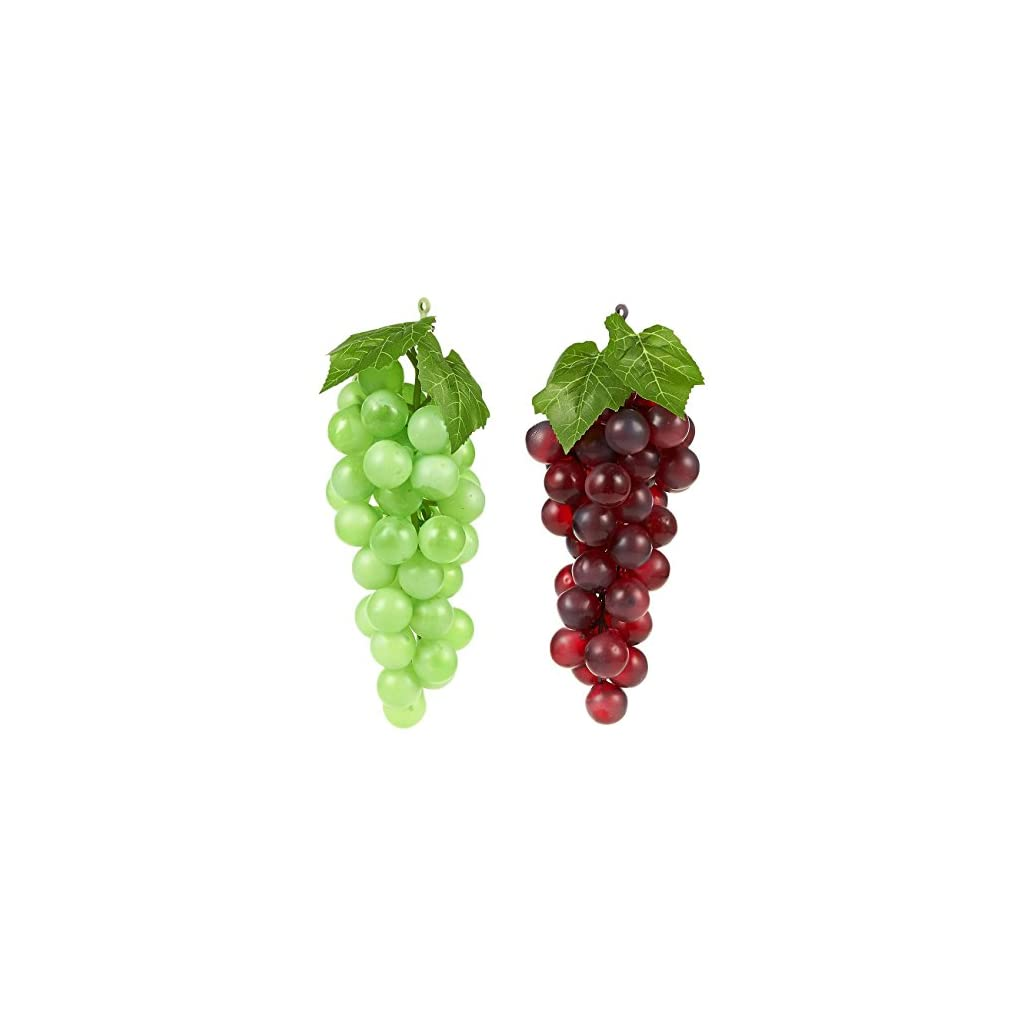 Fake-Grape-2-Pack-Artificial-Fruit-Decorations-Fake-Fruit-Decoration-for-Still-Life-Paintings-Storefront-Kitchen-Decor-Purple-and-Green-8-Inches-Long