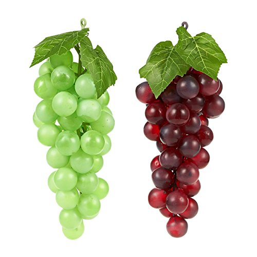 Fake Grape - 2-Pack Artificial Fruit Decorations, Fake Fruit Decoration for Still Life Paintings, Storefront, Kitchen Decor, Purple and Green, 8 Inches Long