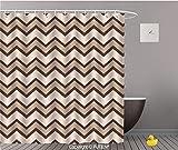 "bathroom tiling ideas PUTIEN Elegant Shower Curtain [ Tan,Classic and Fashionable Chevron Zigzag Pattern Waves Geometric Retro Style Tiling,Brown and Tan ] Decorative Shower Curtain Ideas,48"" W x 72"" L"