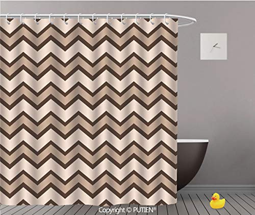"""PUTIEN Elegant Shower Curtain [ Tan,Classic and Fashionable Chevron Zigzag Pattern Waves Geometric Retro Style Tiling,Brown and Tan ] Decorative Shower Curtain Ideas,48"""" W x 72"""" L"""