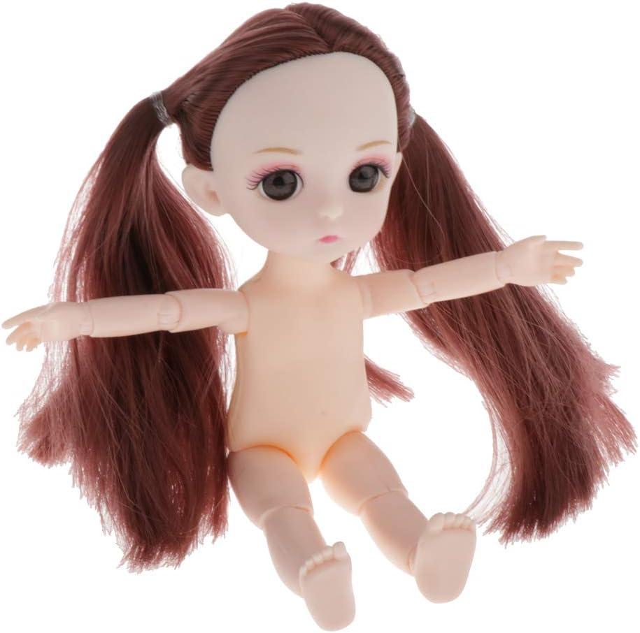 SM SunniMix Lovely 16cm Ball Jointed Girl Doll Nude Body Piezas de Bricolaje - Cola de Caballo marrón