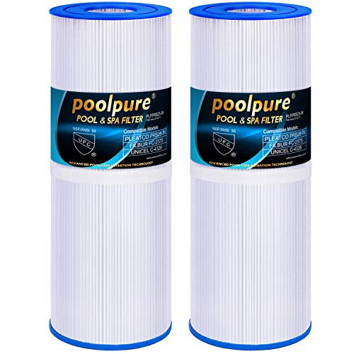 POOLPURE Spa Filter for Hot Tubs Replaces Pleatco PRB25-IN Unicel C-4326 FC-2375, 25 sq ft, Pentair R173434, Waterway 817-5000, Dynamic RDC-25, 5 x 13 Spa Filter, 2 Cartridge ()