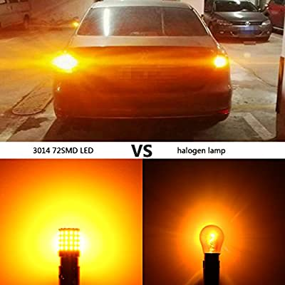 Phinlion Super Bright 3014 72-SMD BA15S 1156 1073 7506 Amber Yellow LED Light Bulbs for Turn Signal Blinker Lights: Automotive