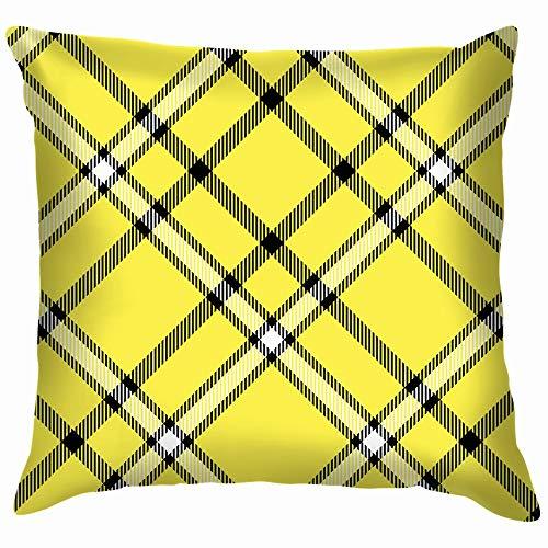 Tartan Plaid Black White Vintage Cotton Linen Home Decorative Throw Pillow Case Cushion Cover for Sofa Couch 24X24 Inch]()