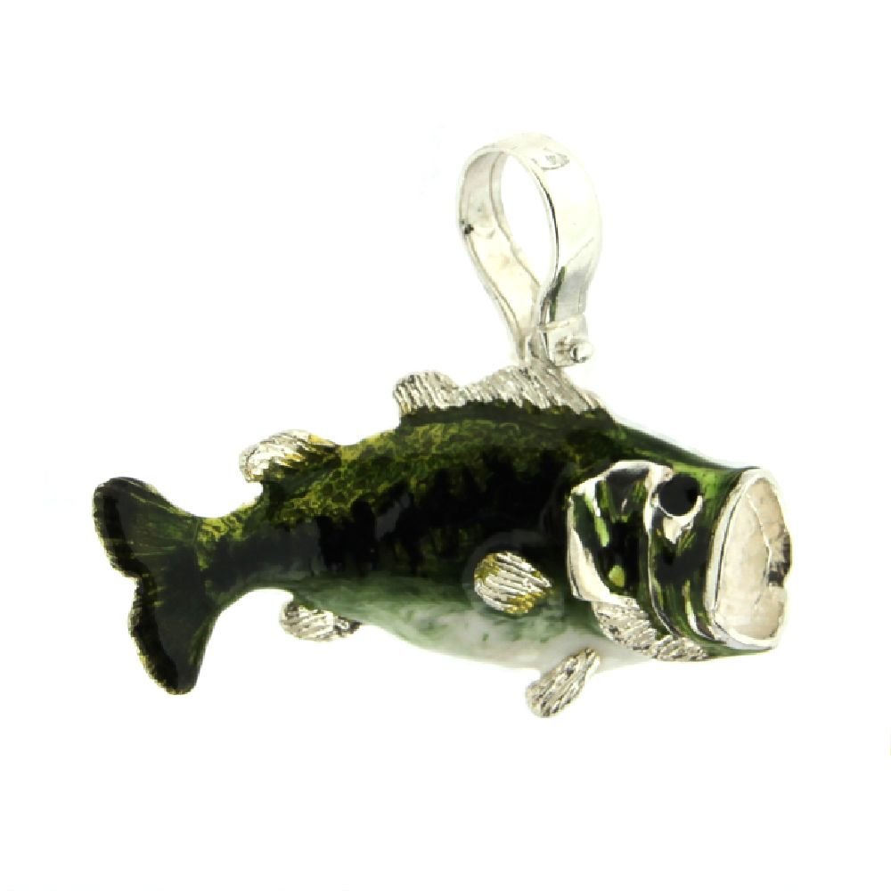 amalia Sterling Silver 925 and Enamel Large Mouth bass Pendant 1.4 x 1.2 inches with Bail
