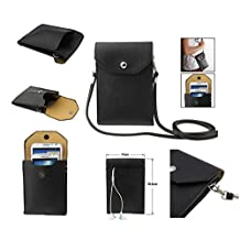 DFV mobile® - Universal litchi texture leather case pocket sleeve bag with lanyard for tablet and smartphone for => Caterpillar CAT B15 AWS > color BLACK