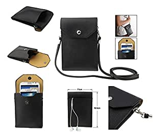 DFV mobile - Universal litchi texture leather case pocket sleeve bag with lanyard for tablet and smartphone for => Videocon Infinium Zest Pro > color BLACK
